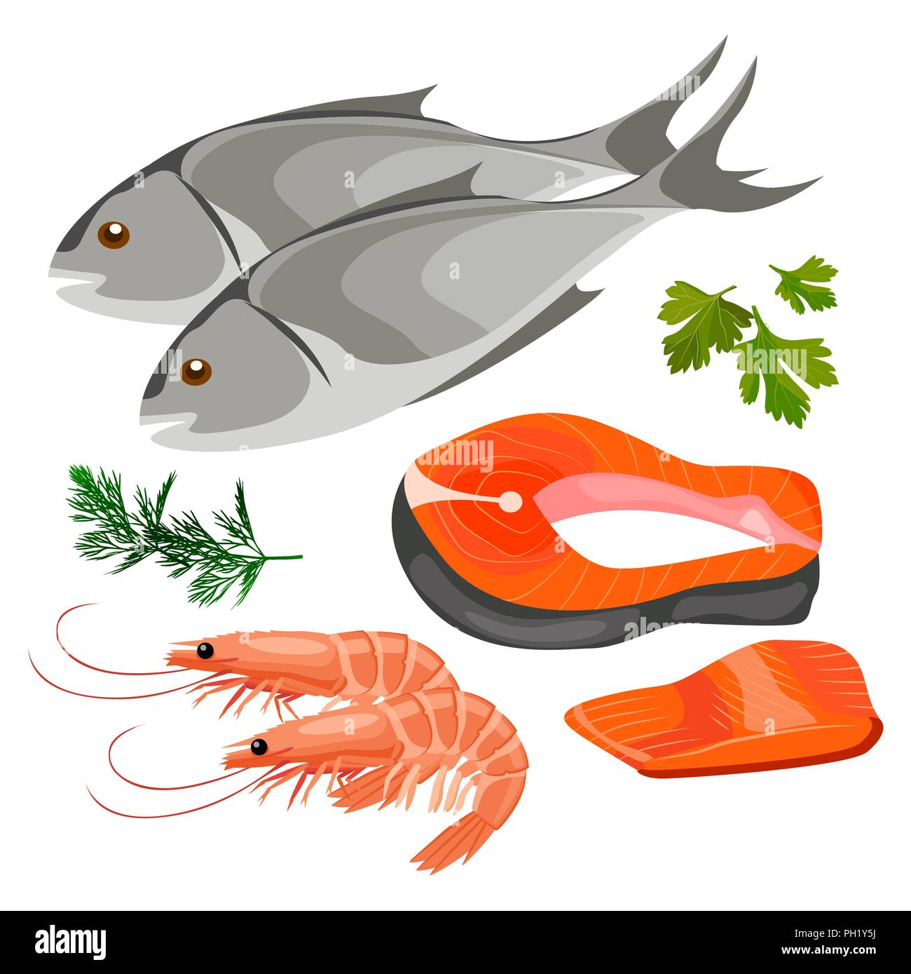 Set of sea foods icon in flat style, fresh fish. - Stock Vector