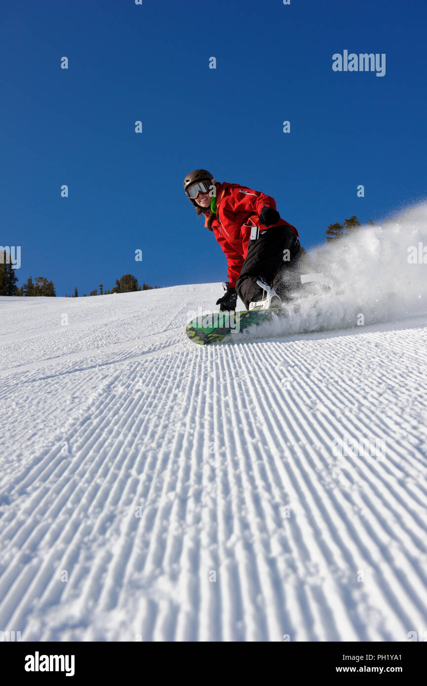 Kayla Anderson carving up the groomers at Mt. Rose Ski Tahoe.  Photo by Scott Sady Stock Photo