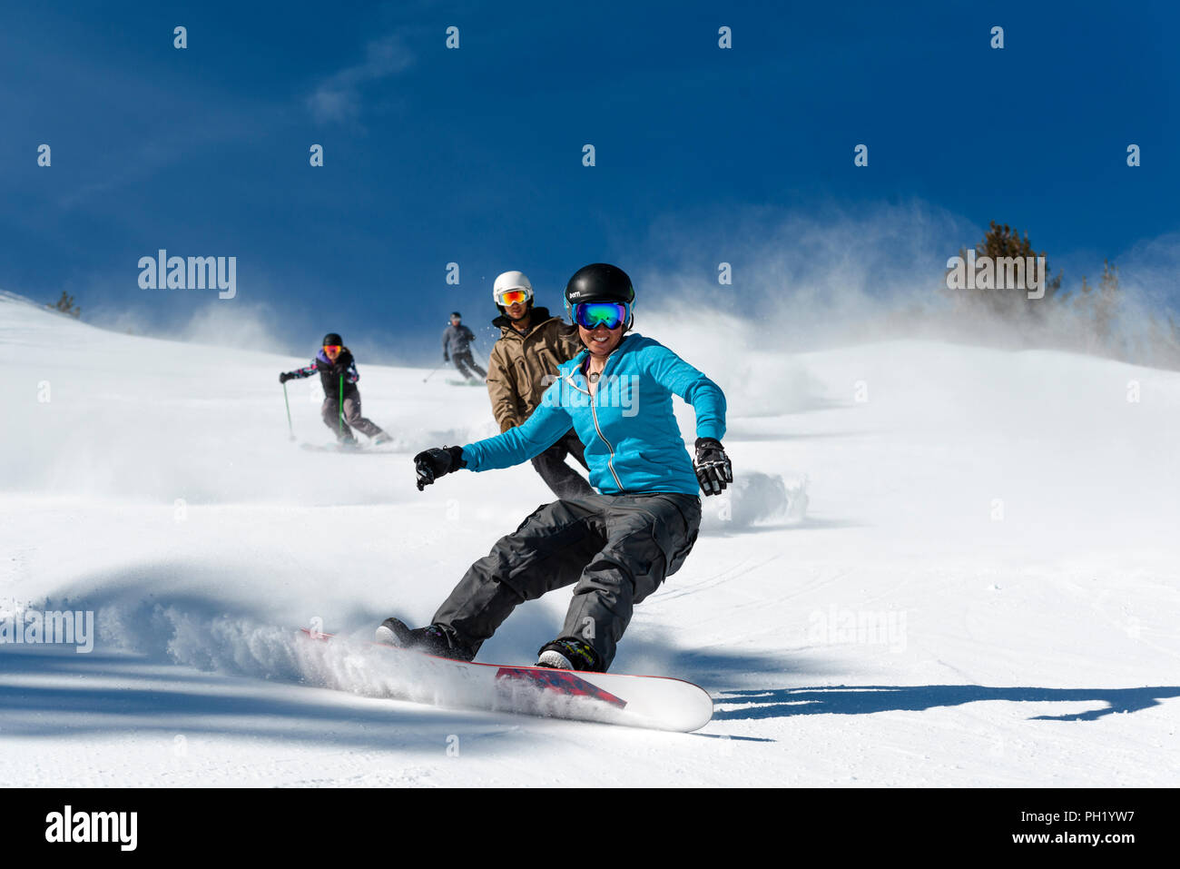 Spring skiing shoot mt rose ski tahoe Stock Photo