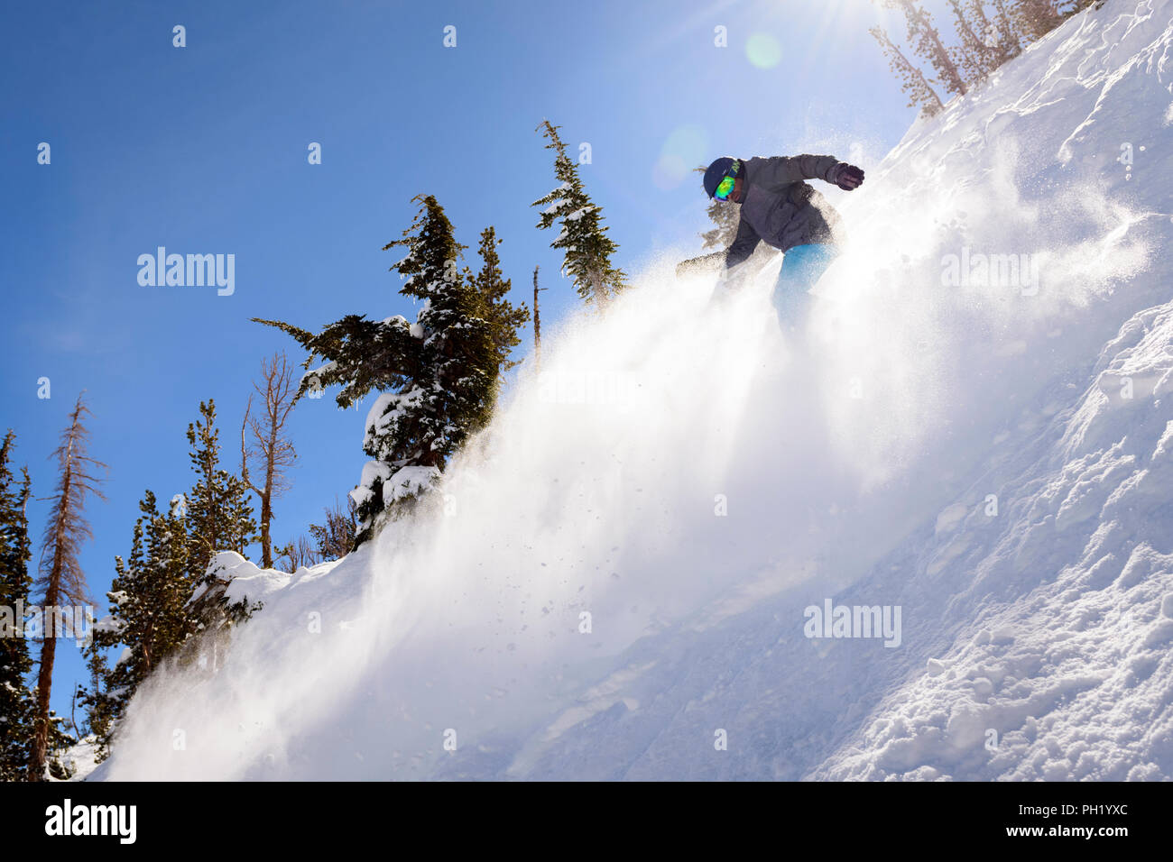 In the Chutes at Mt. Rose Ski Tahoe. Stock Photo