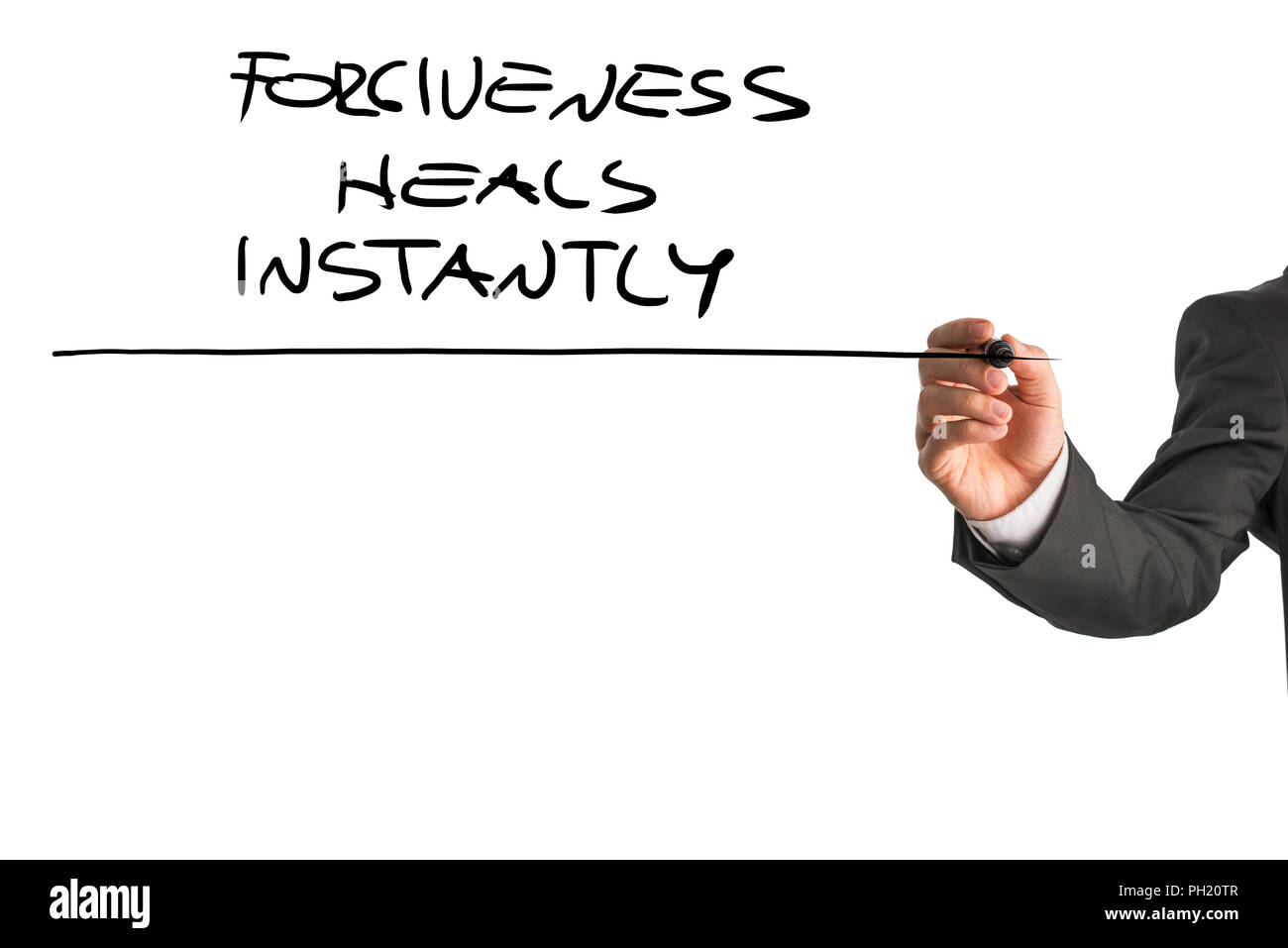 Hand of a professional therapist writing a Forgiveness heals instantly saying on a white virtual screen. Suitable for mental health and personal growt - Stock Image