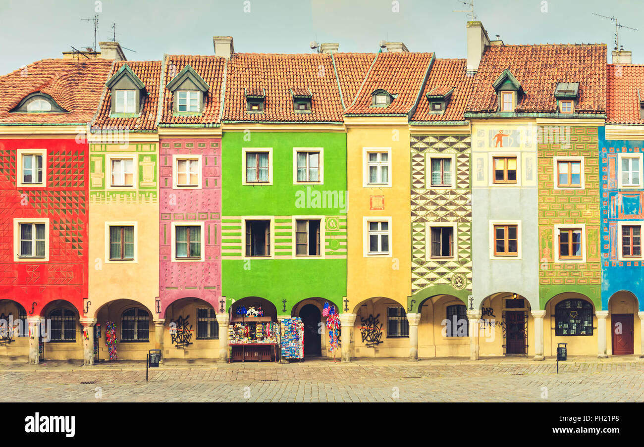 crooked medieval houses , Poznan, Poland Stock Photo