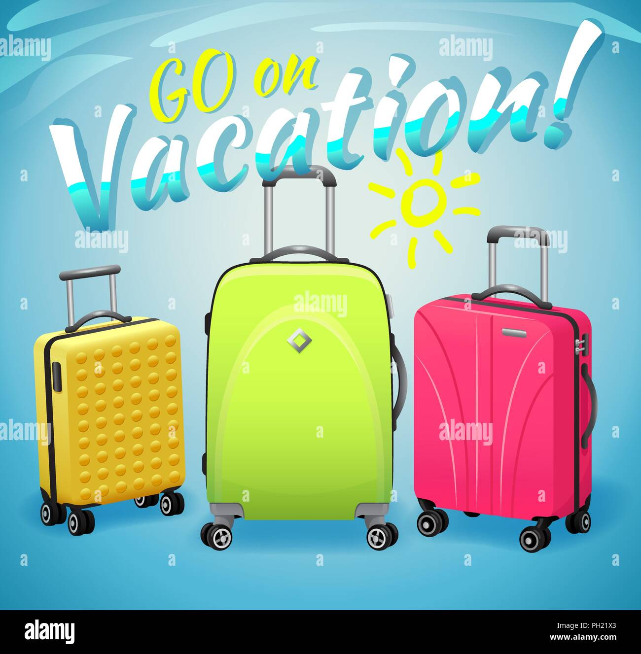 Sign Go on vacation and three luggage travel bags isolated on blue background. Luggage and travel illustration. - Stock Vector