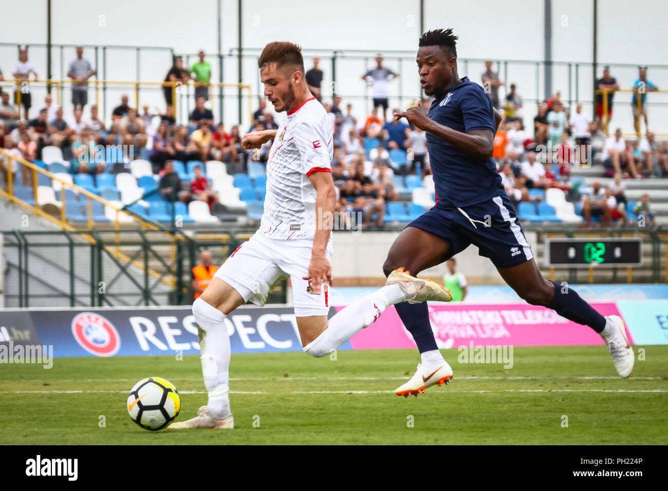 Velika Gorica, Croatia - 25th, August 2018 : The first football Croatian league Hrvatski Telekom, football game between Hnk Gorica and Rudes on Gorica - Stock Image