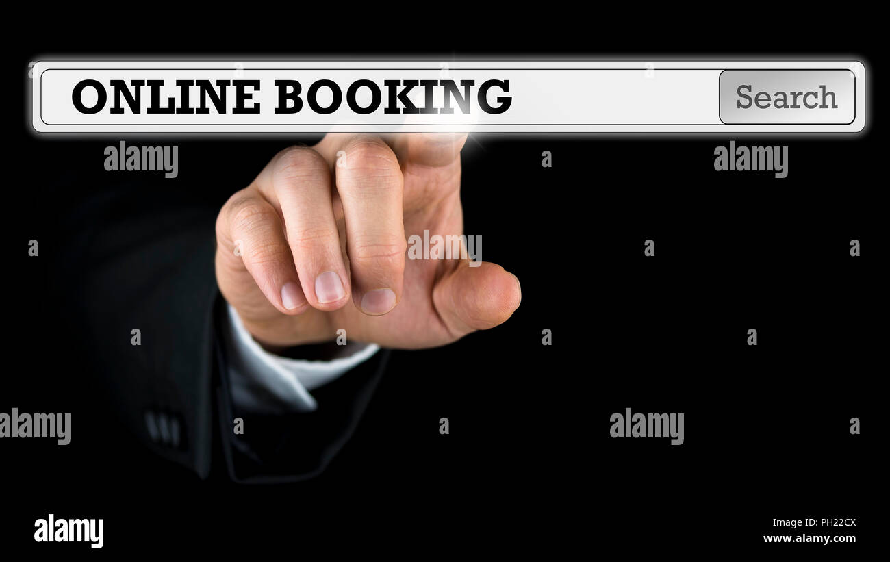 Online booking written in a navigation bar on a virtual interface or computer screen with a businessman reaching out his finger to activate the button - Stock Image