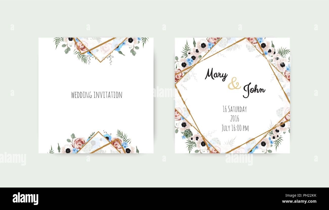 Wedding invite, invitation. Botanical wedding invitation card template design, white and pink flowers. Vector template set - Stock Image