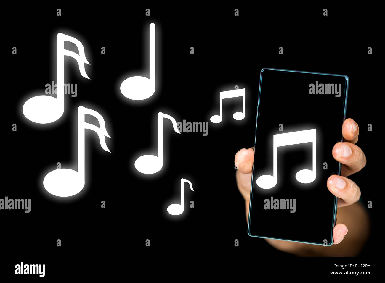 Conceptual image of music notes issuing from an mp3 music