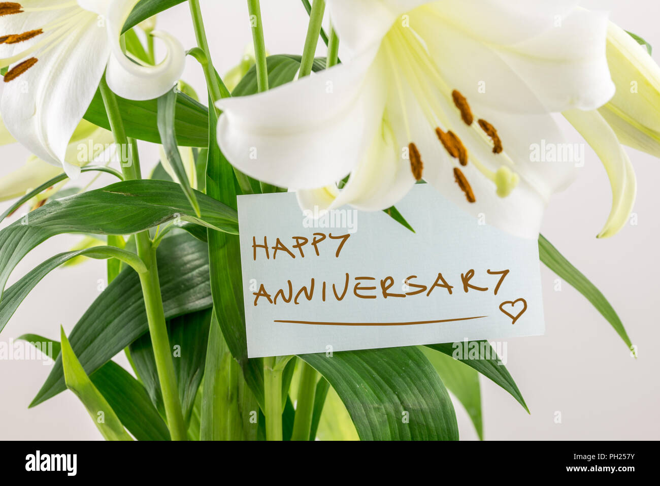 Happy anniversary floral gift of a bouquet of fresh white lilies with a hand-written note saying - Happy Anniversary - for a loved one or sweetheart. Stock Photo