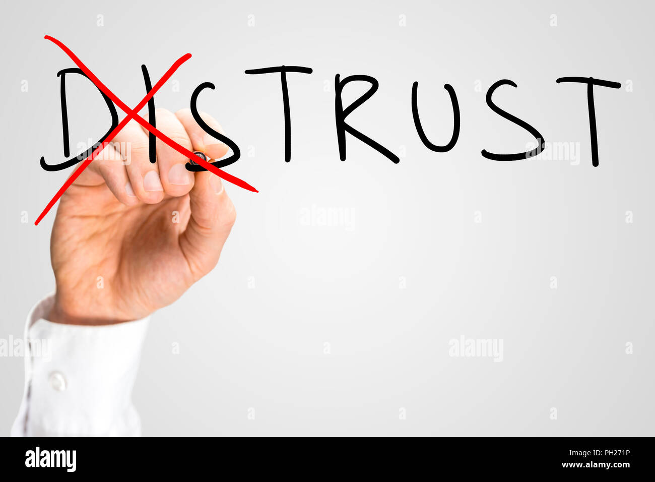 Conceptual image of the two opposite concepts of Distrust versus Trust with a man writing the word Distrust on a virtual screen and then crossing thro - Stock Image