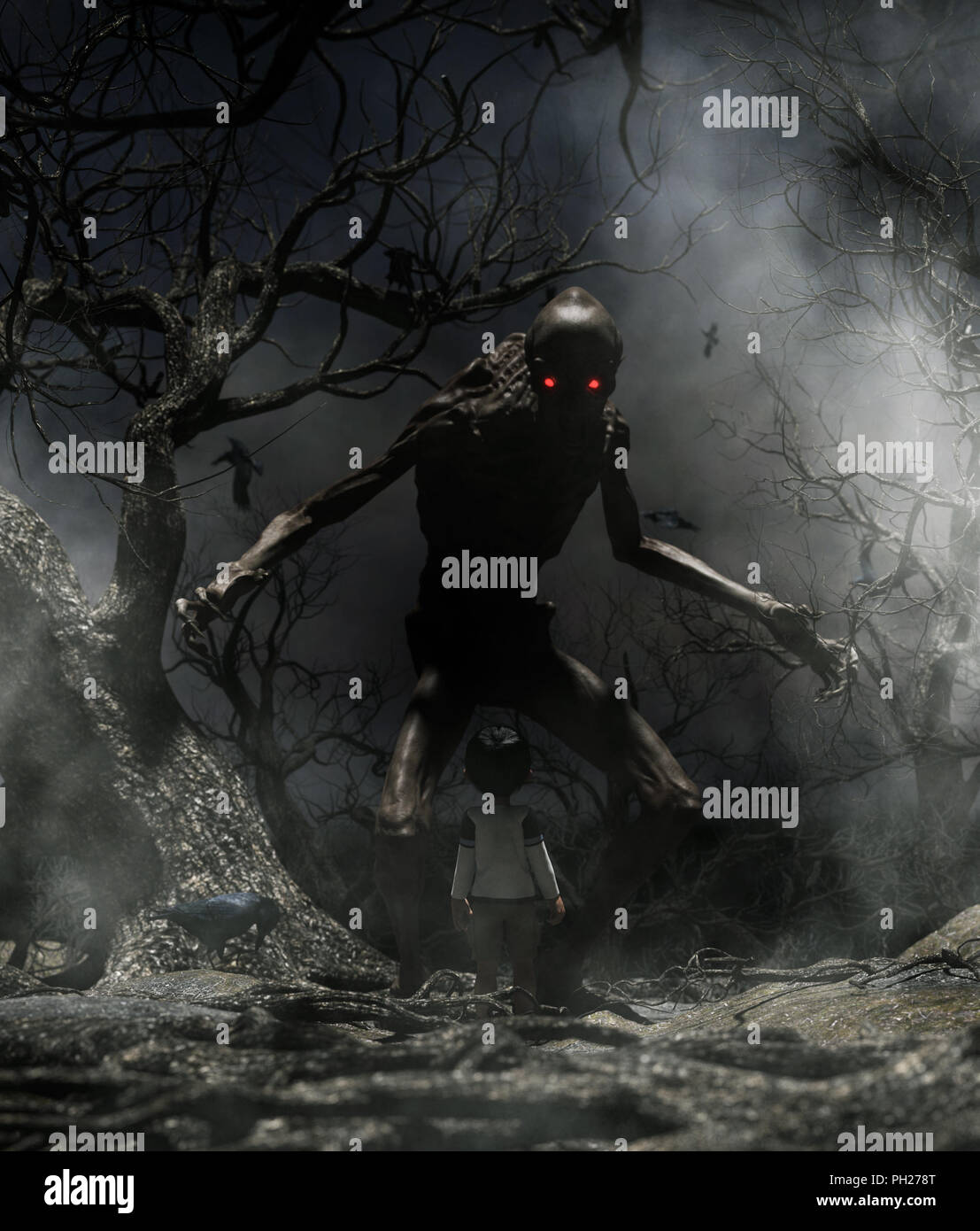 nightmare with bogeyman boy enter to the haunted forest in his dream