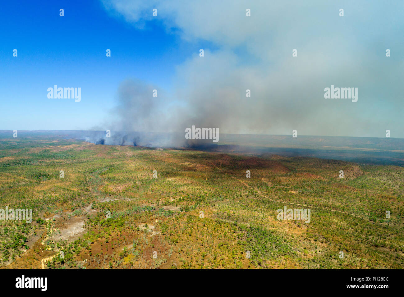 Aerial view of bush fire in Australian outback, Northern Territory, Australia - Stock Image