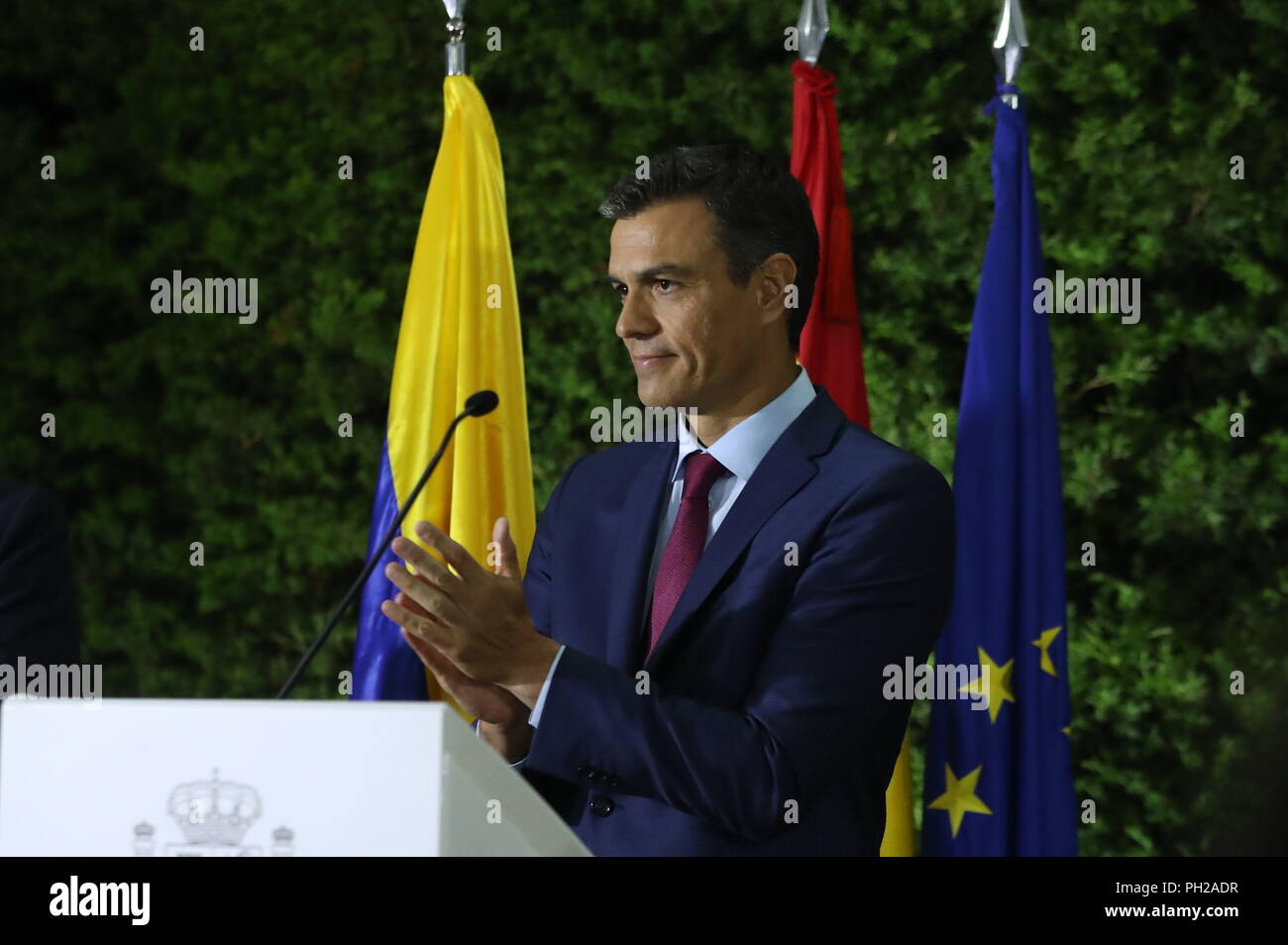 Spanish Prime Minister Pedro Sanchez delivers a speech during a meeting with the Spanish community residing in Colombia held at the Spanish embassy, in Bogota, Colombia, 29 August 2018. Sanchez arrived in Bogota today to meet tomorrow with the Colombian President Ivan Duque, on the third stop of his Latin American tour. EFE/J.J. Guillen - Stock Image