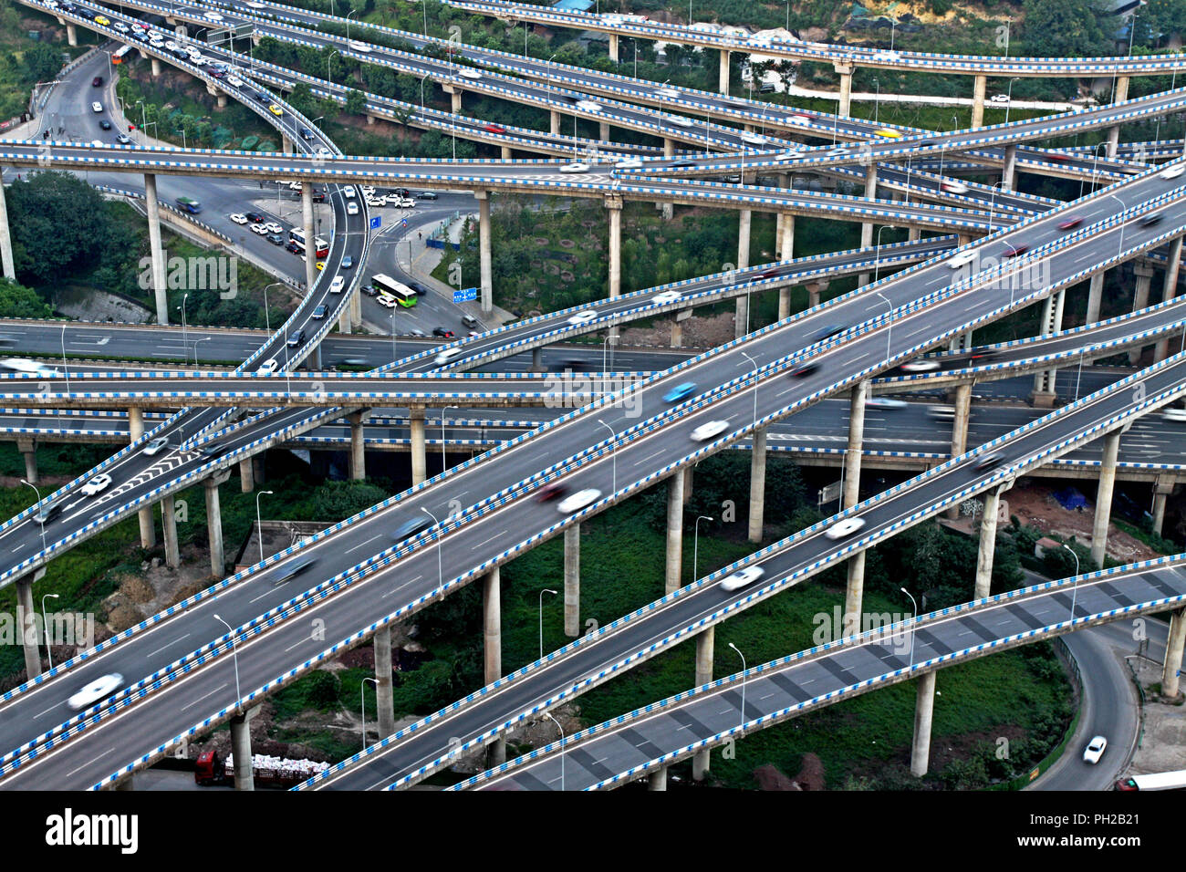 Chongqing, Chongqing, China. 30th Aug, 2018. Chongqing, CHINA-The five-level Huangjuewan Overpass is regarded as the most complicated overpass in southwest China's Chongqing.The overpass consists of 15 ramps with a total length of 16,414 meters. Credit: SIPA Asia/ZUMA Wire/Alamy Live News - Stock Image