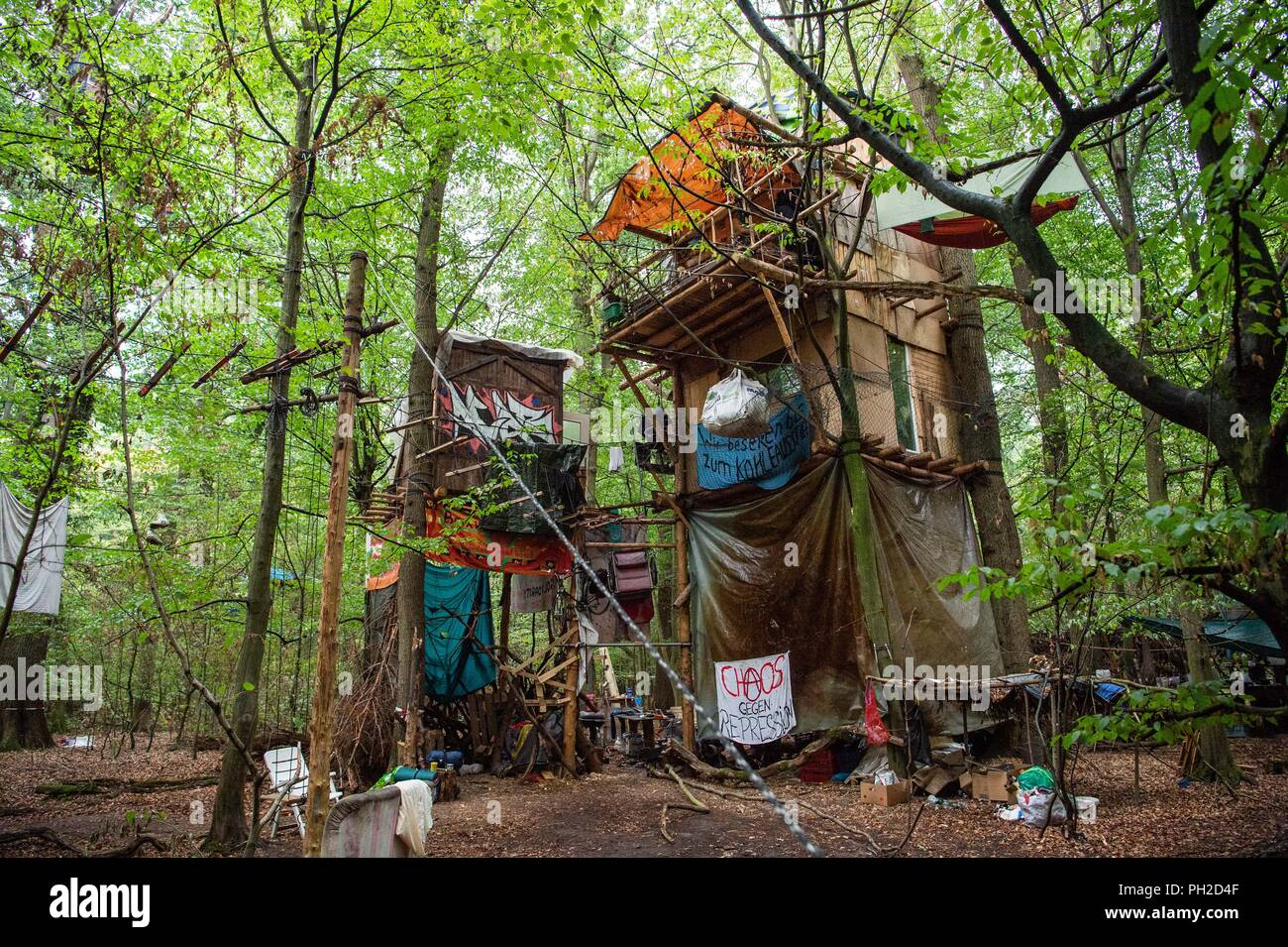 Germany, Morschenich. 29th Aug, 2018. Activists have built tree houses in the Hambach Forest. The camp will demonstrate against the clearing of the Hambach forest for opencast lignite mining. North Rhine-Westphalia's Prime Minister Laschet (CDU) will be asking the press questions on current political issues on 30.09.2018. In the centre is probably the heated location in the Hambach Forest. Credit: Christophe Gateau/dpa/Alamy Live News - Stock Image