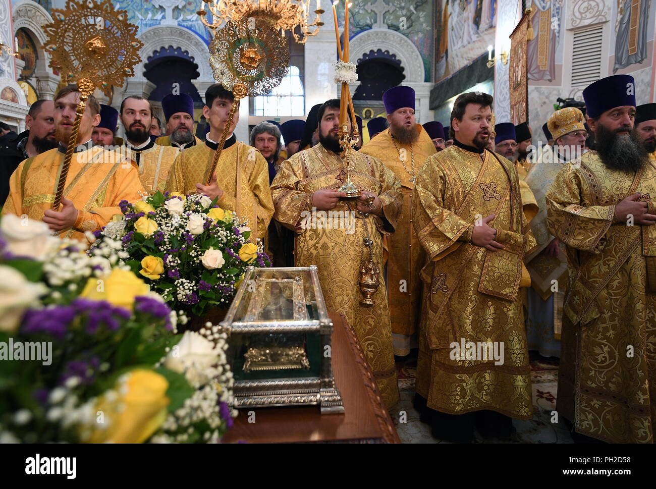 Yekaterinburg, Russia. 30th Aug, 2018. YEKATERINBURG, RUSSIA - AUGUST 30, 2018: Russian Orthodox clergy during the arrival of relics of Saint Spyridon of Trimythous from Corfu, Greece, at the Church on Blood in Honour of All Saints Resplendent in the Russian Land, in the city of Yekaterinburg; the relics of St Spyridon arrived in Russia in August 2018 and are visiting Russian cities including Krasnodar, Yekaterinburg, Krasnoyarsk, Kemerovo, Tula, St Petersburg, Tver, Saratov, Cheboksary, Yaroslavl, and Moscow. Donat Sorokin/TASS Credit: ITAR-TASS News Agency/Alamy Live News - Stock Image