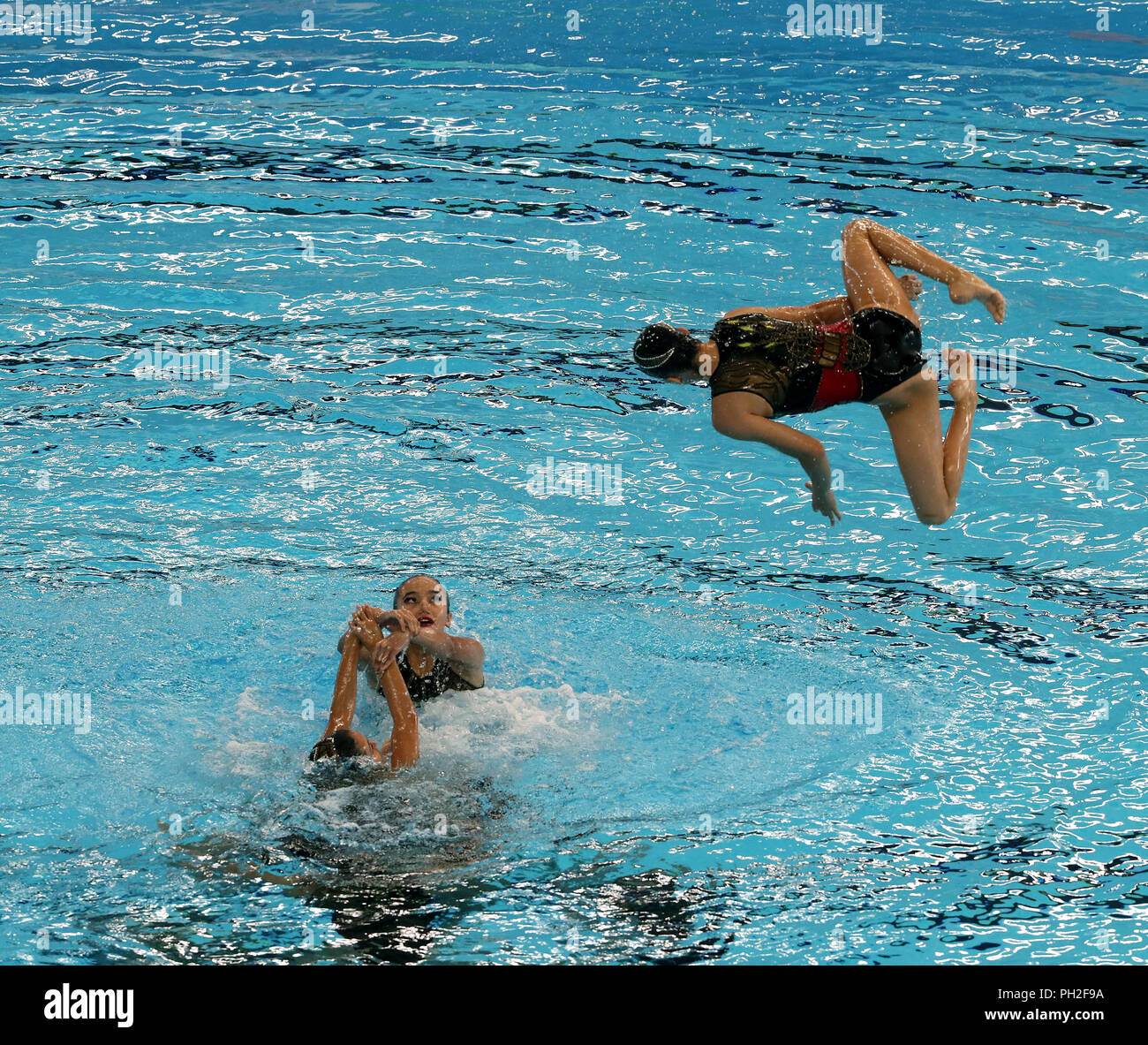 Indonesia, Jakarta, August, 29, 2018: Synchornised swimming Team Event: Team USBEKISTAN in performance during free routine. Credit: Seshadri SUKUMAR/Alamy Live News - Stock Image