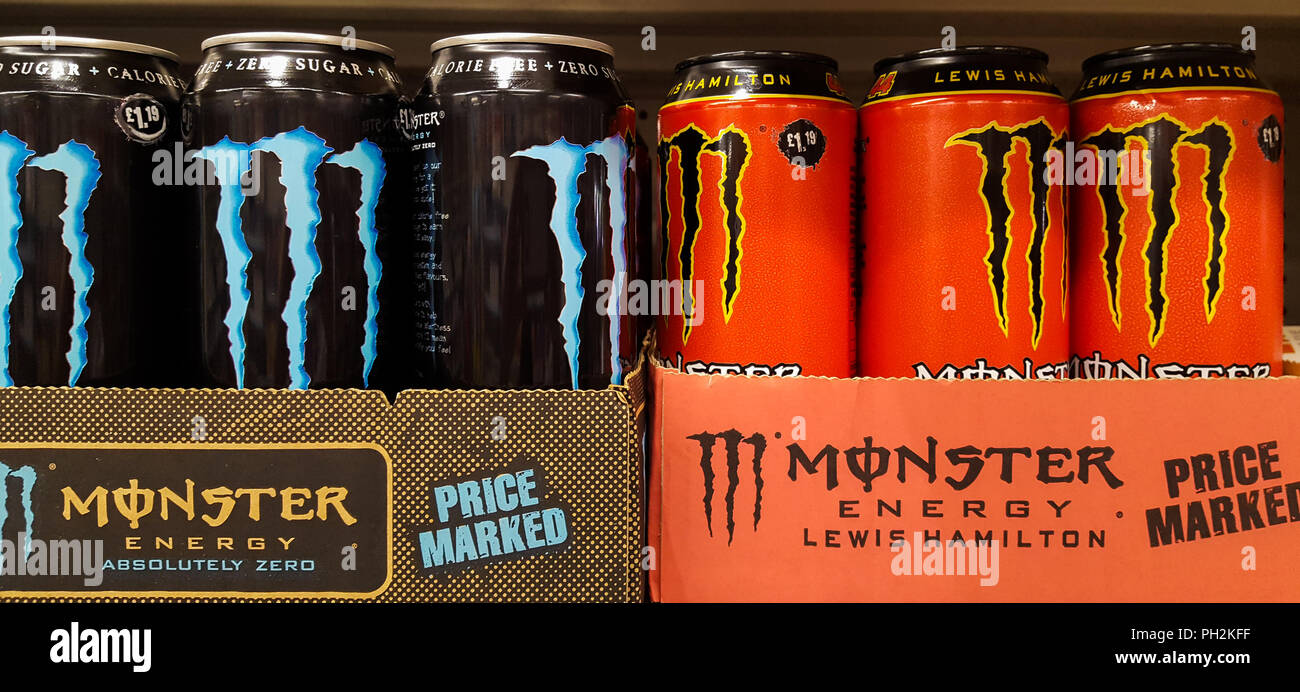 London  UK 30 Aug 2018 - Monster energy drinks for sale in a