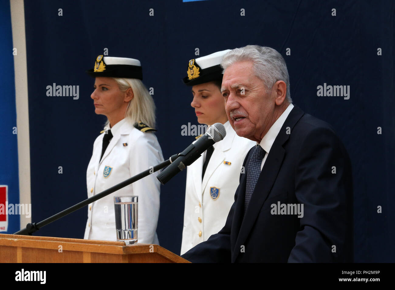 Piraeus, Greece. 30th Aug, 2018. Greece's new Shipping Minister Fotis Kouvelis delivers speech during the handover ceremony of the Ministry in Piraeus, Greece, on Aug. 30, 2018. Credit: Marios Lolos/Xinhua/Alamy Live News - Stock Image