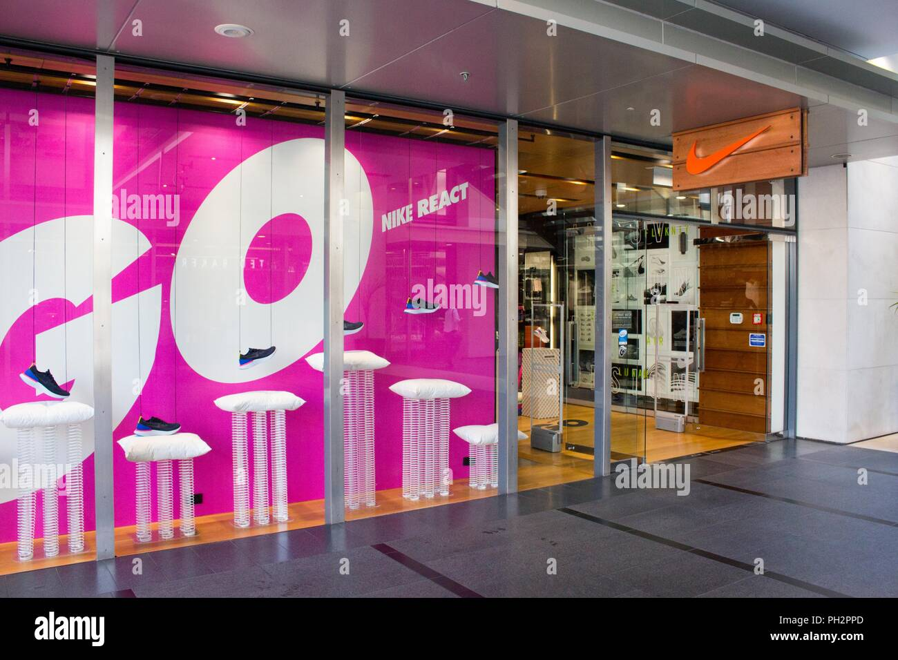 42677b0c318e Facade with sign and logo at the Nike shoe store in Auckland