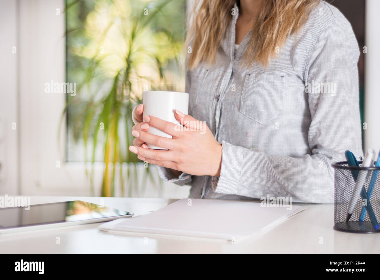 Business woman sitting on desk at modern office and holding white cup of coffee in hand. Girl wears elegant shirt on strips. Blurred big green windows - Stock Image