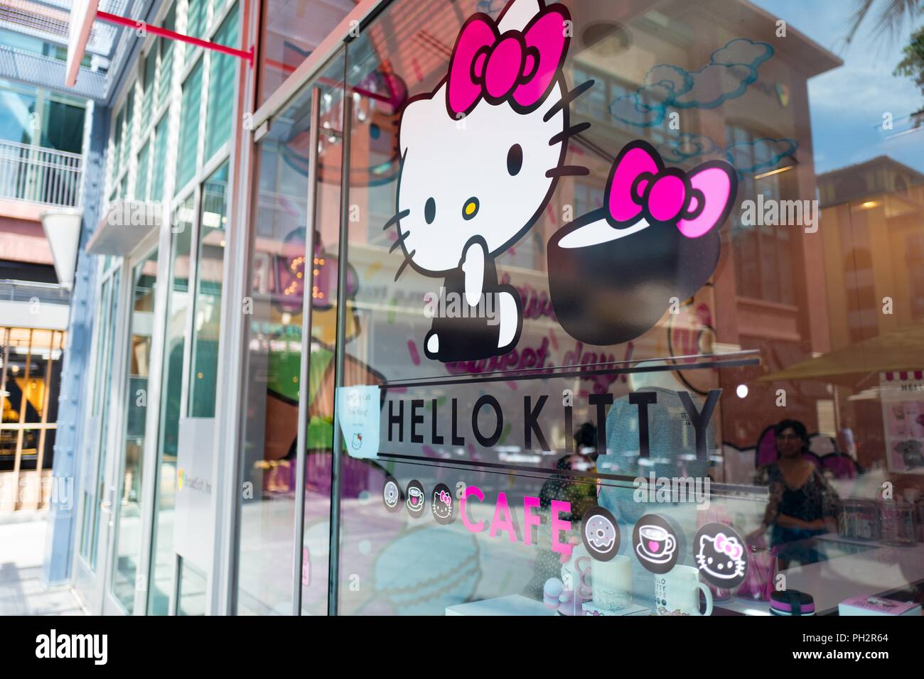 cb42794f6 Facade of the Hello Kitty Cafe, a newly opened cafe operated by Japanese company  Sanrio