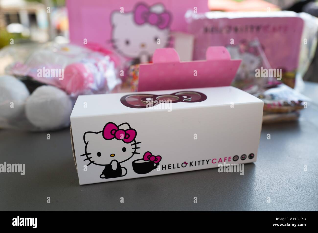 bde556030 Merchandise on display at the Hello Kitty Cafe, a newly opened cafe  operated by Japanese