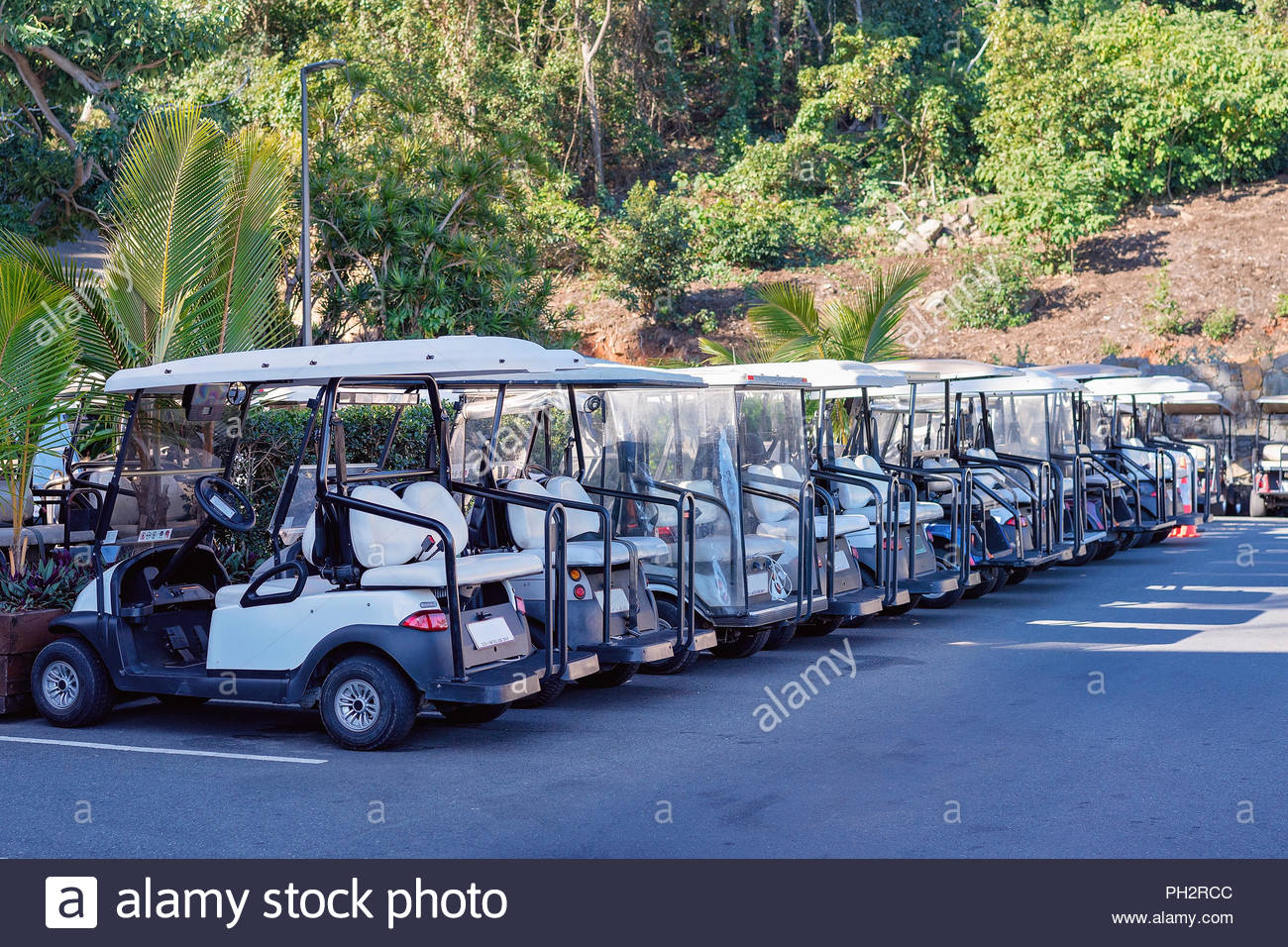 A row of golf buggies for guest use on Hamilton Island, Whitsundays, Australia - Stock Image