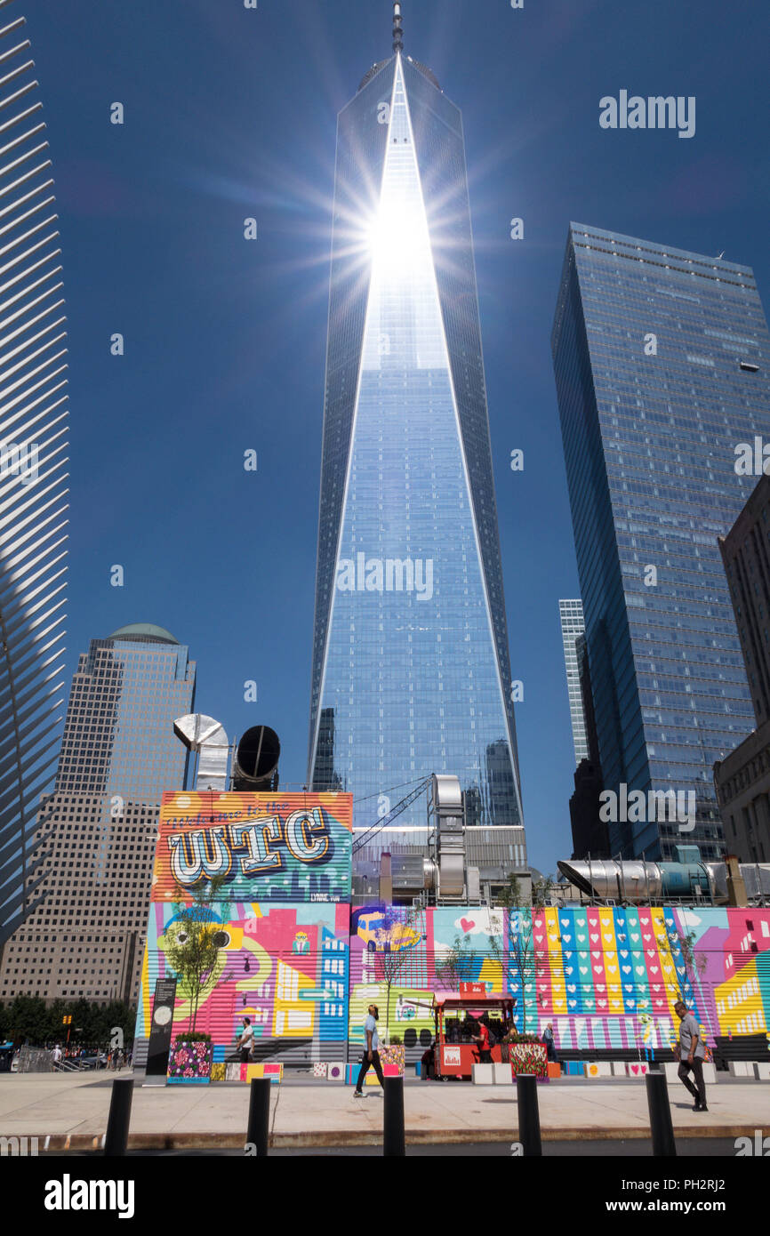 World Trade Center Complex in Lower Manhattan, NYC, USA - Stock Image