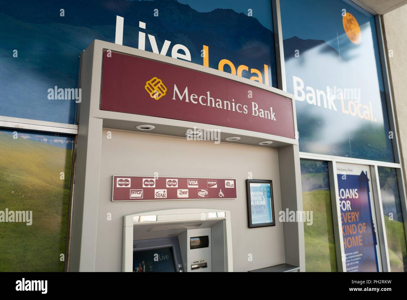 Close-up of automated teller machine (ATM) with logo for regional banking Mechanics Bank in the San Francisco Bay Area town of Walnut Creek, California, August 6, 2018. () - Stock Image