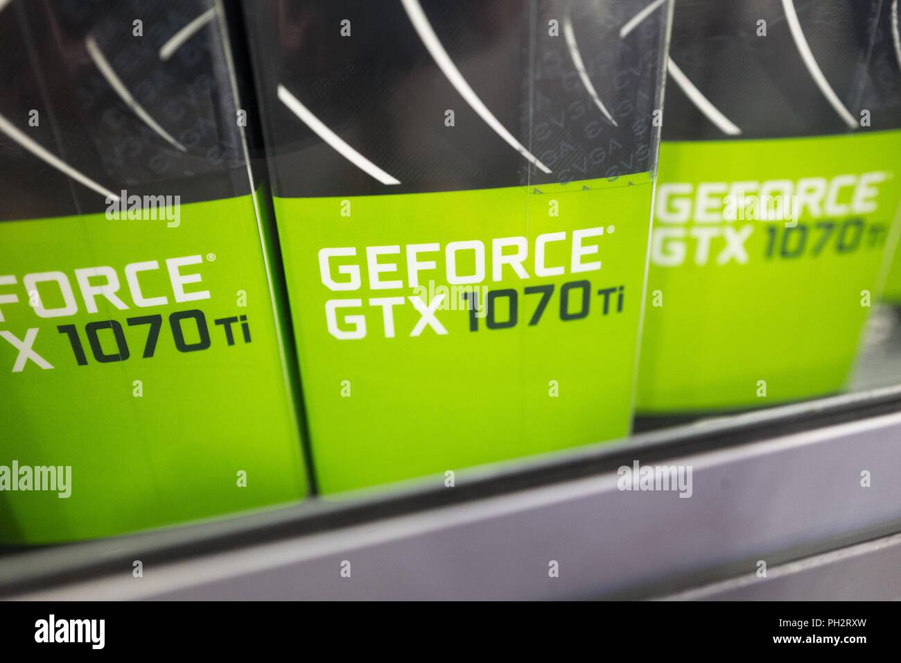 Close-up of a line of new NVIDIA GeForce graphical processing units (GPUs) in boxes, commonly used in cryptocurrency mining for Bitcoin alternative coins such as Monero and Ethereum, Dublin, California, August 23, 2018. () - Stock Image