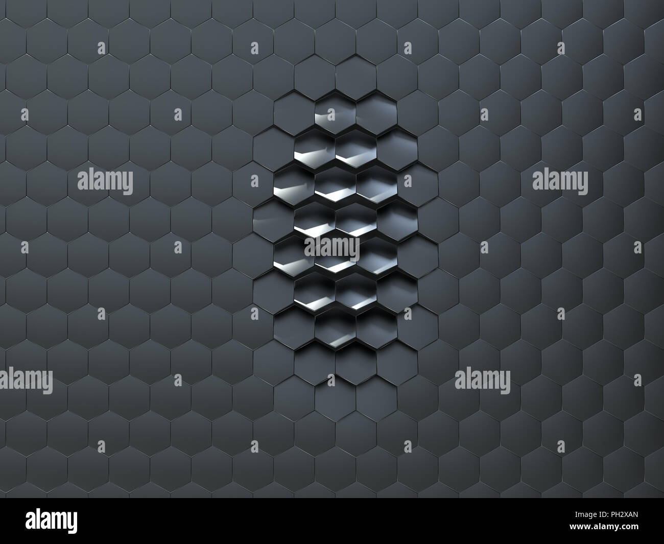 artificial hexagonal surface - Stock Image