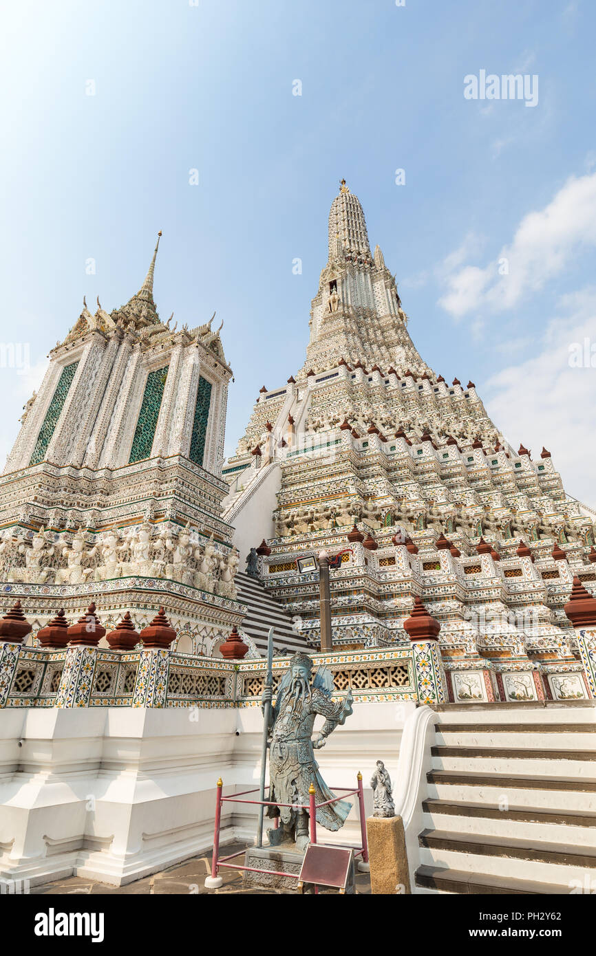 Beautiful view of decorated Wat Arun temple in Bangkok, Thailand, on a sunny day. - Stock Image