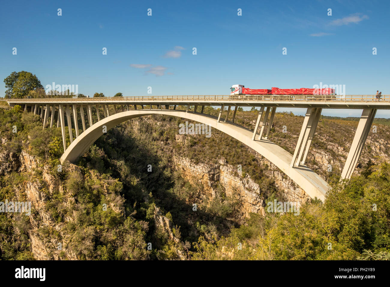 Tsitsikamma, South Africa - the Paul Sauer Bridge also known as the Storms River Bridge over the Storms River on the garden route Stock Photo