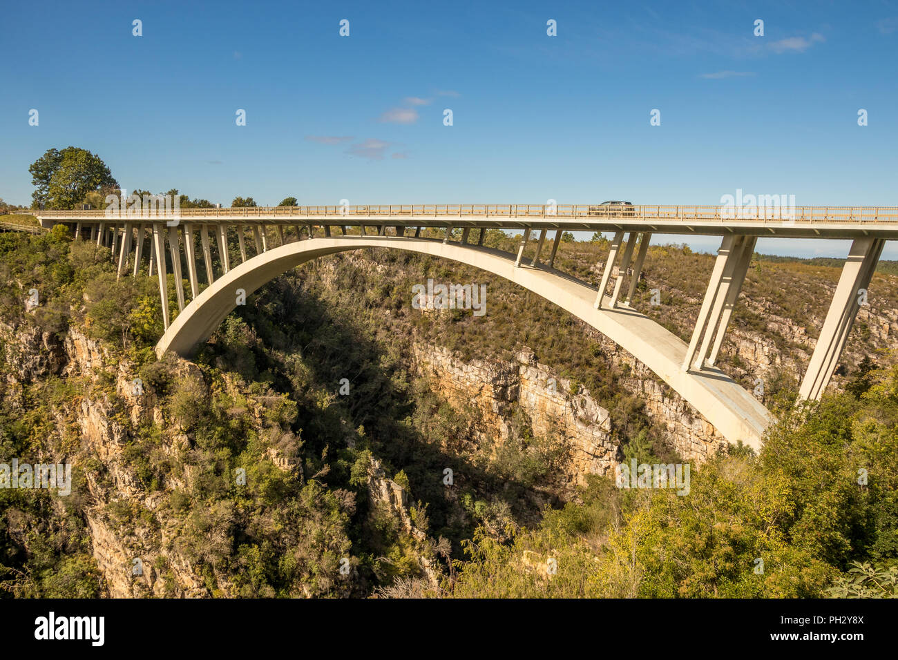 Tsitsikamma, South Africa - the Paul Sauer Bridge also known as the Storms River Bridge over the Storms River on the garden route - Stock Image