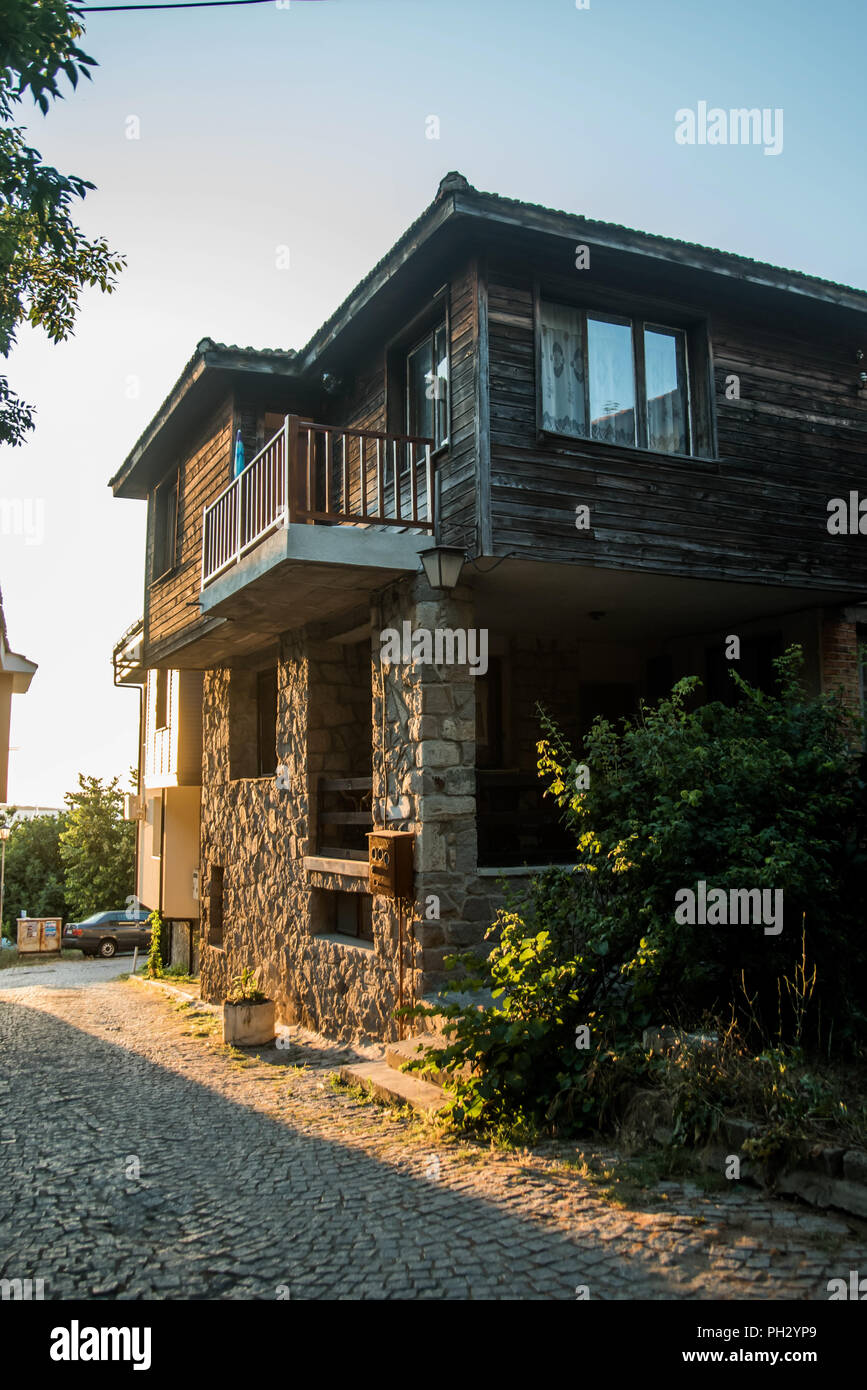 Sozopol, Bulgaria - September 11, 2016: Street view of Sozopol old town Stock Photo