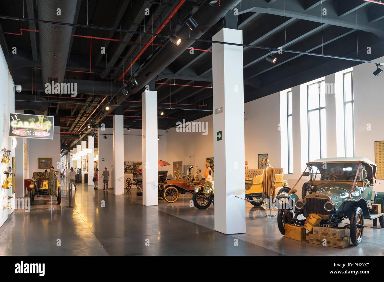 Museo Automovilistico y de la Moda, Malaga, Malaga Province, Spain.  Automobile and Fashion Museum.  Part of the display. - Stock Image