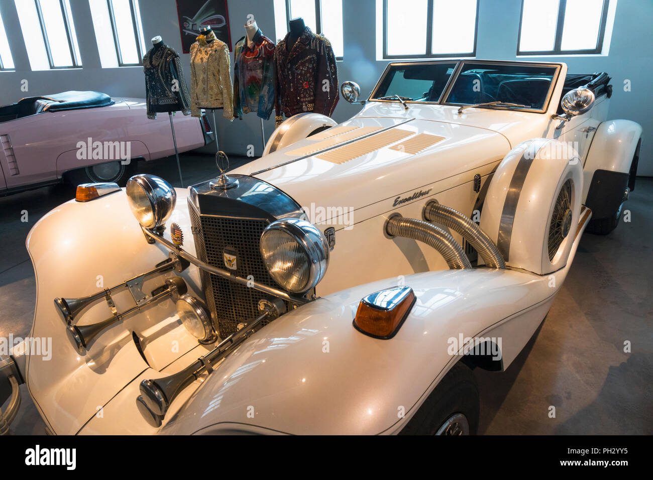 Museo Automovilistico y de la Moda, Malaga, Malaga Province, Spain.  Automobile and Fashion Museum.  The limited edition V8, 155 HP, 5000 cc, Model IV - Stock Image