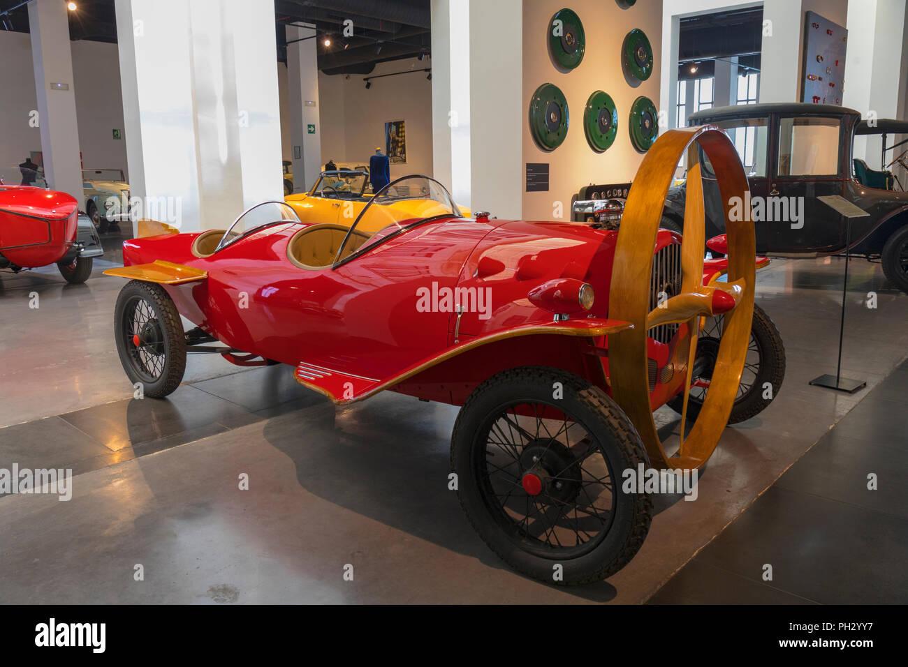 Museo Automovilistico y de la Moda, Malaga, Malaga Province, Spain.  Automobile and Fashion Museum.  Prototype of the propeller driven Helicron 2, bui - Stock Image