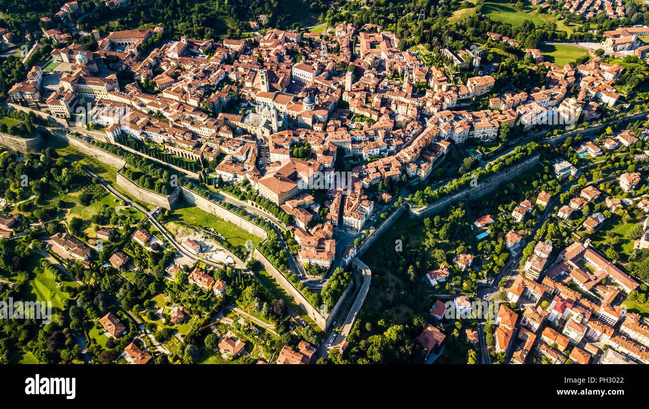 Città Alta or Upper Town, old walled city of Bergamo, Italy - Stock Image