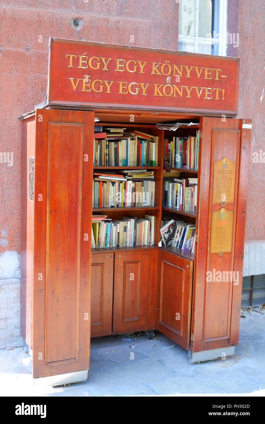 Book swap cabinet, Wekerle, Kispest, Budapest, Hungary - Stock Image