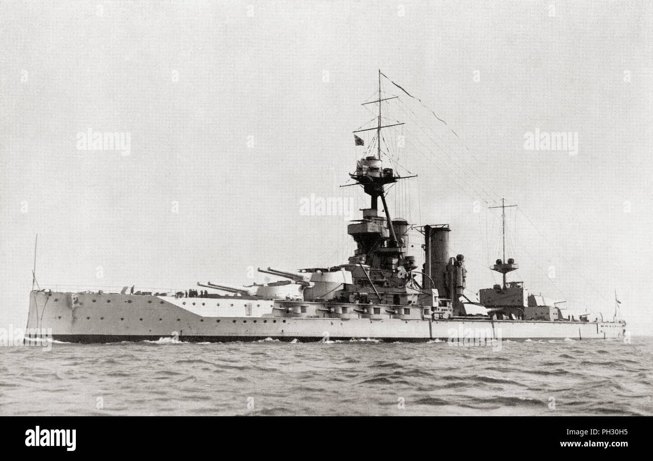 The battleship HMS Iron Duke (1914), from which Admiral Jellicoe directed the Battle of Jutland.  From The Book of Ships, published c.1920. - Stock Image