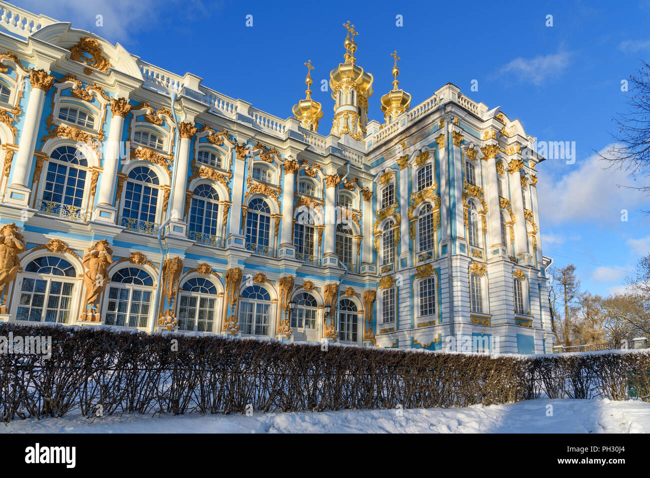 Catherine palace in Tsarskoe Selo in winter. Pushkin town. Saint Petersburg. Russia - Stock Image