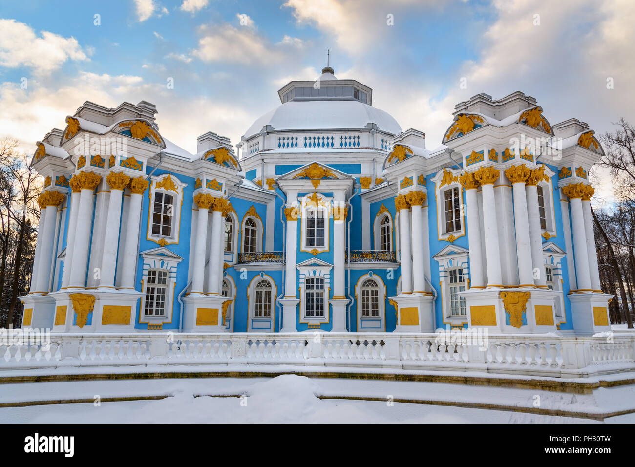 Pavilion Hermitage in Catherine park at Tsarskoe Selo in winter. Pushkin town. Saint Petersburg. Russia - Stock Image