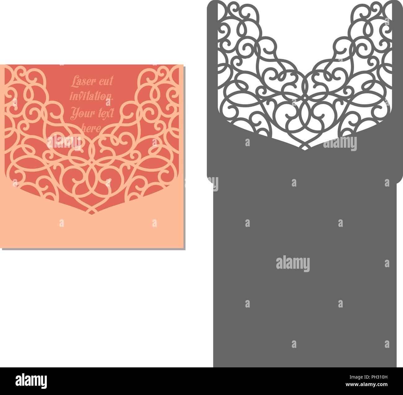 laser cut envelope template for invitation wedding card paper