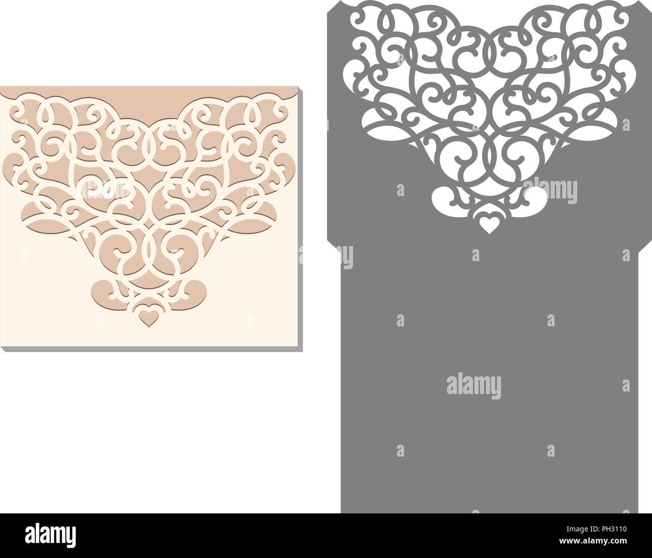 laser cut envelope template for invitation wedding card paper