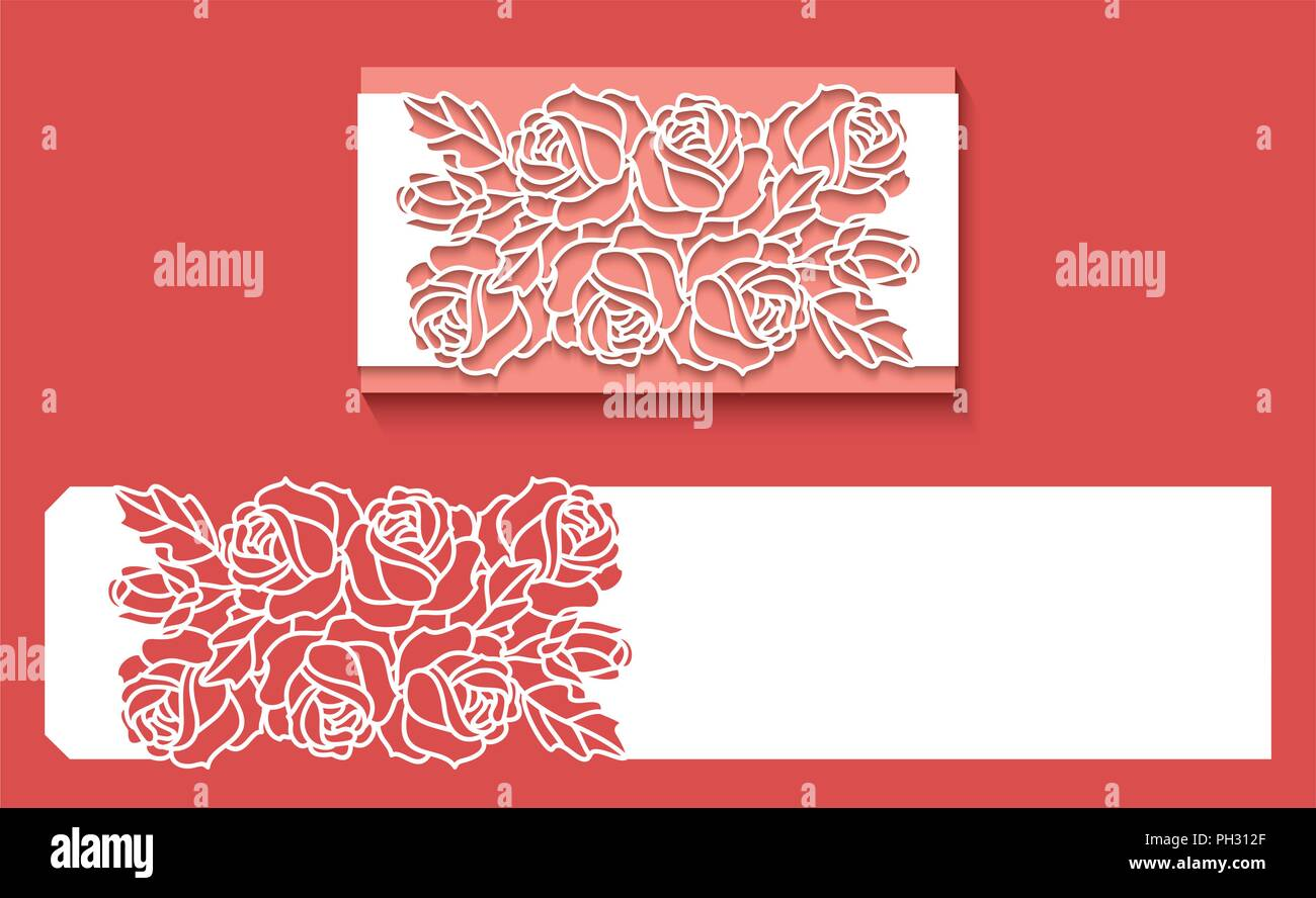 Laser cut envelope template for invitation wedding card. Paper ...