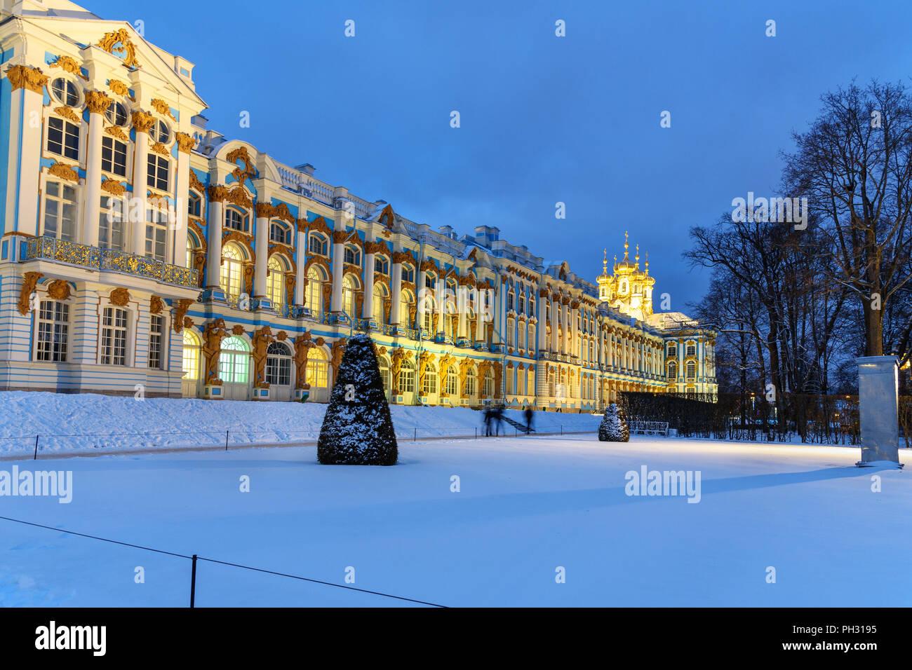 Catherine palace in Tsarskoe Selo at night in winter. Pushkin town. Saint Petersburg. Russia - Stock Image