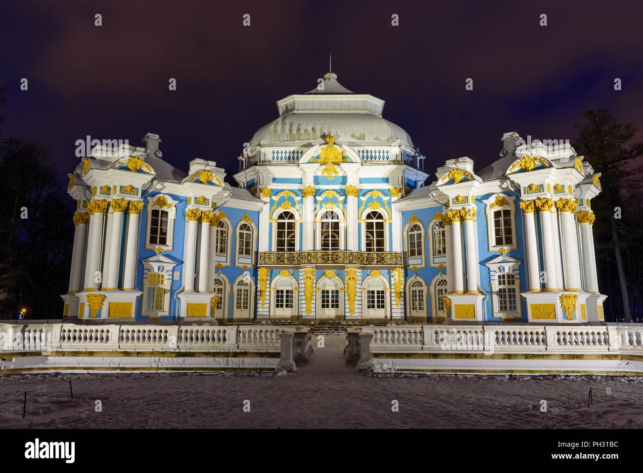 Pavilion Hermitage in Catherine park at Tsarskoe Selo at night in winter. Pushkin town. Saint Petersburg. Russia - Stock Image