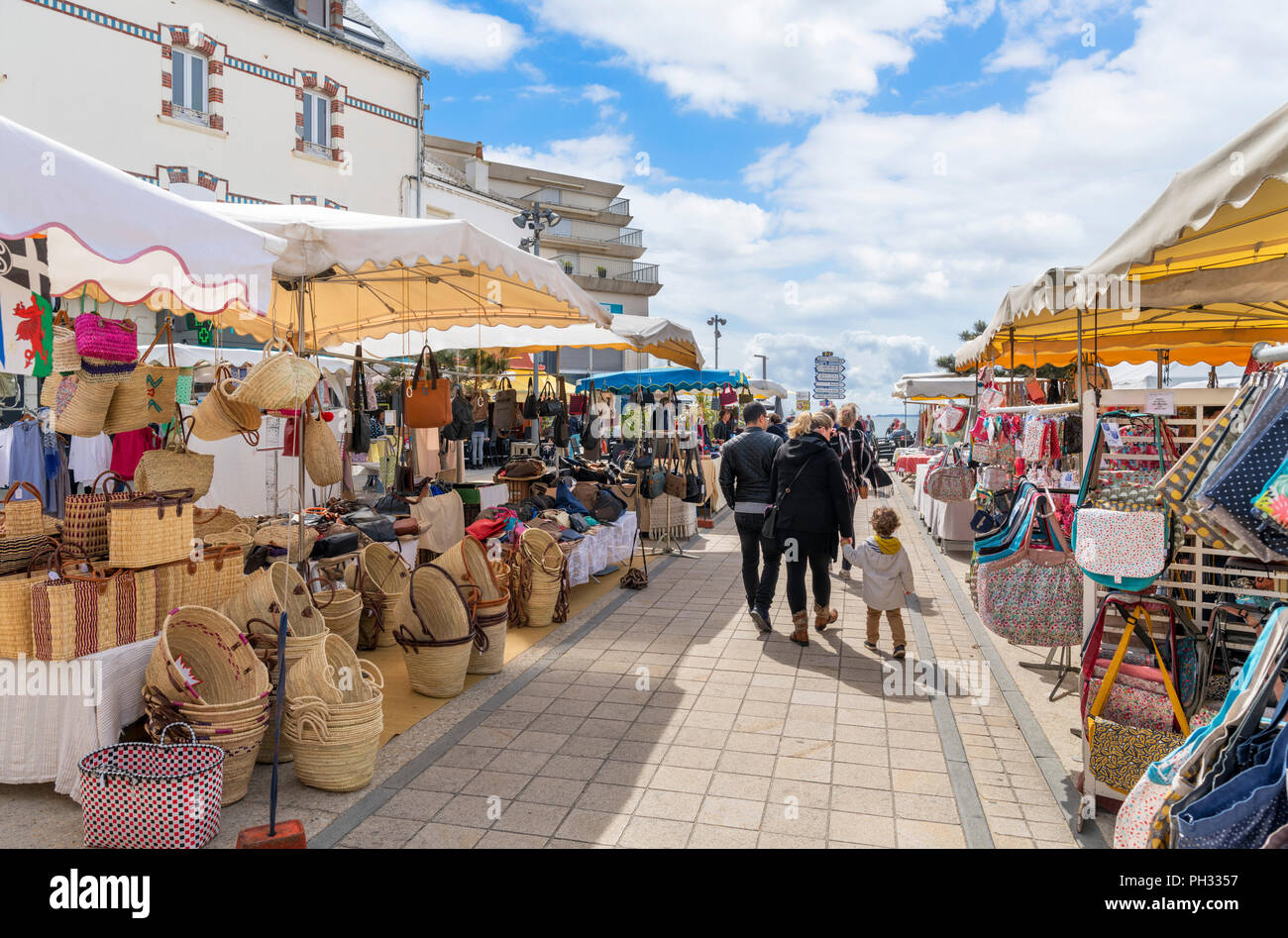 Market in Quiberon, Brittany, France - Stock Image