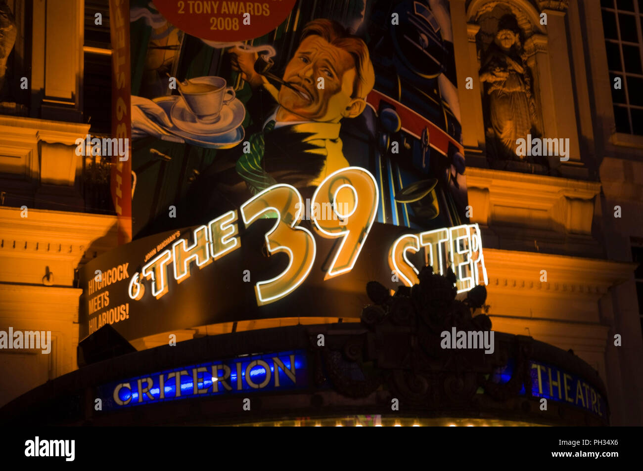 Advertisement for The 39 Steps, Criterion Theatre London UK - Stock Image